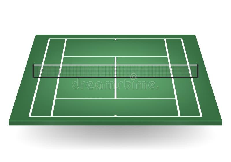 Wektoru zielony tenisowy sąd z siatkarstwem royalty ilustracja