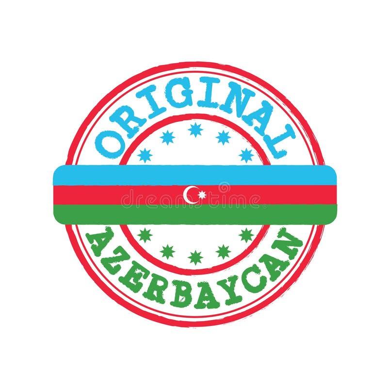 Wektoru znaczek Oryginalny logo z tekstem Azerbaycan Azerbejdżan w Tureckim języku i Wiązać w środku z naród flagą ilustracji