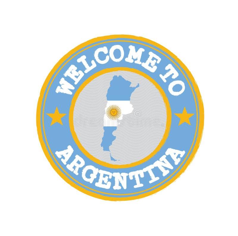 Wektoru znaczek powitanie Argentyna z mapa konturem naród w centrum ilustracja wektor