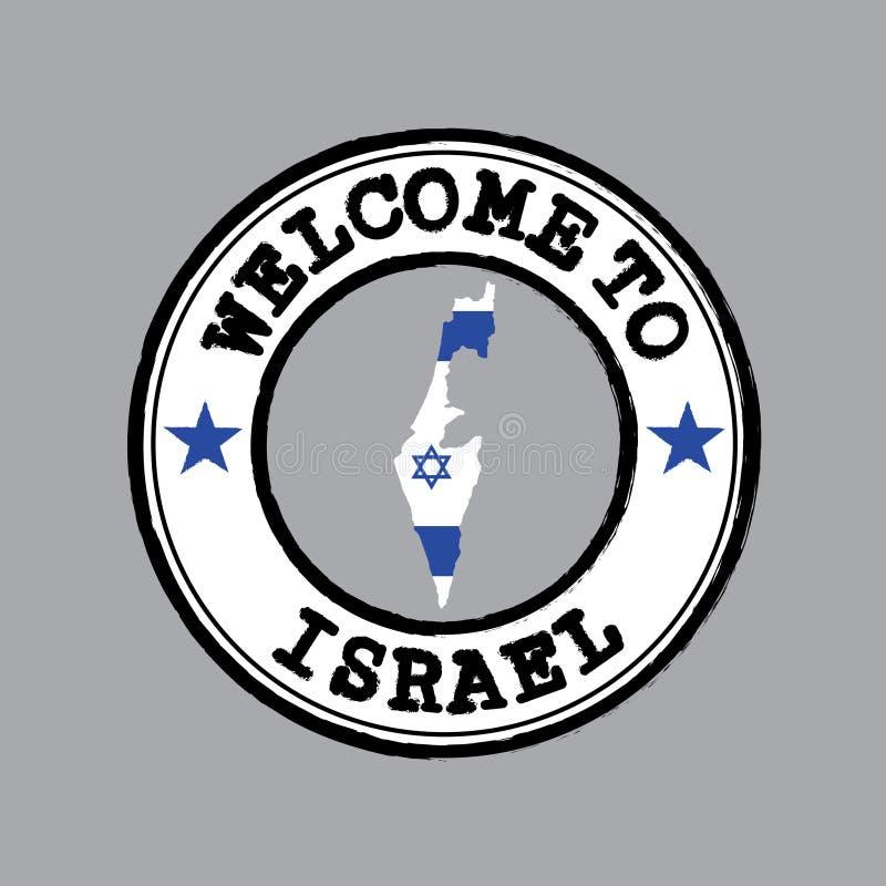 Wektoru znaczek powitanie Izrael z naród flagą na mapa konturze w centrum ilustracji