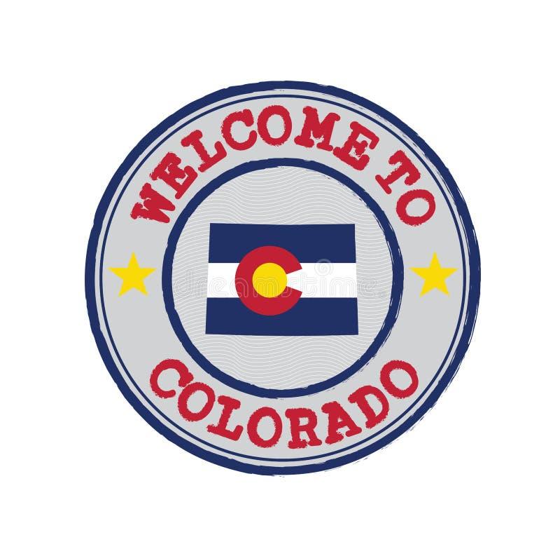 Wektoru znaczek powitanie Kolorado z stanami zaznacza na mapa konturze w centrum ilustracji