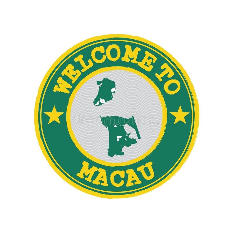 Wektoru znaczek powitanie Macau z Macao flagą na mapa konturze w centrum royalty ilustracja