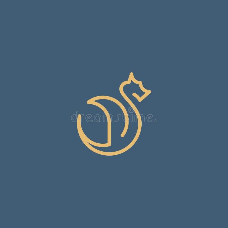 Wektoru znak złoty smok od linii ilustracja wektor