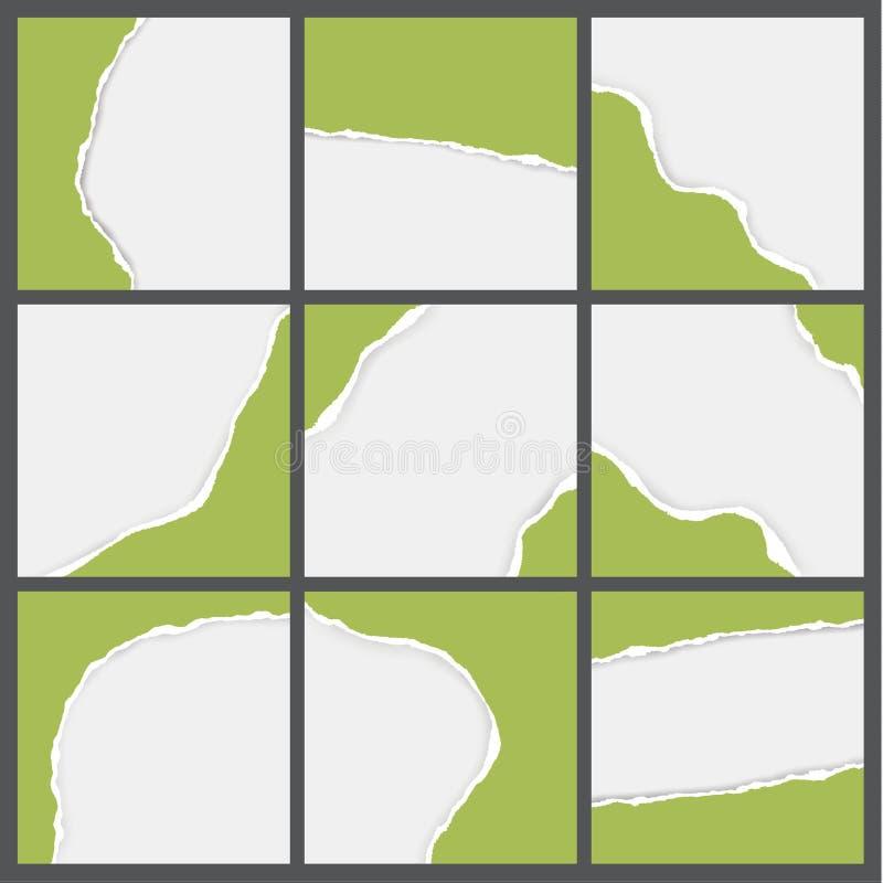 Wektory rozdzierający papierowi tła Paczka puste miejsce rozdzierający papiery dla ilustracji