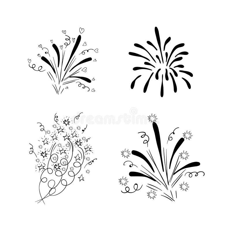 WEKTORY rysujący fajerwerków wybuchy, czarni rysunki odizolowywający na białym tle, urodzinowy ślubny nowy rok 4th Lipiec ilustracja wektor