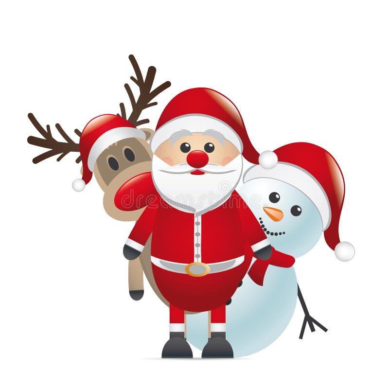 Wekzeugspritzen-Weihnachtsmann-Schneemann des Rens roter stock abbildung