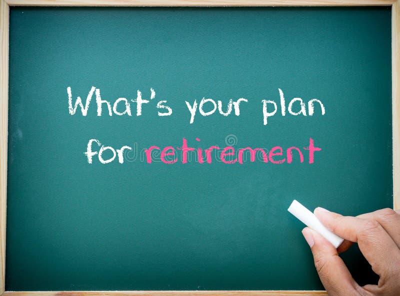 Welches ` s Ihr Plan für den Ruhestand geschrieben auf Tafel lizenzfreie stockbilder