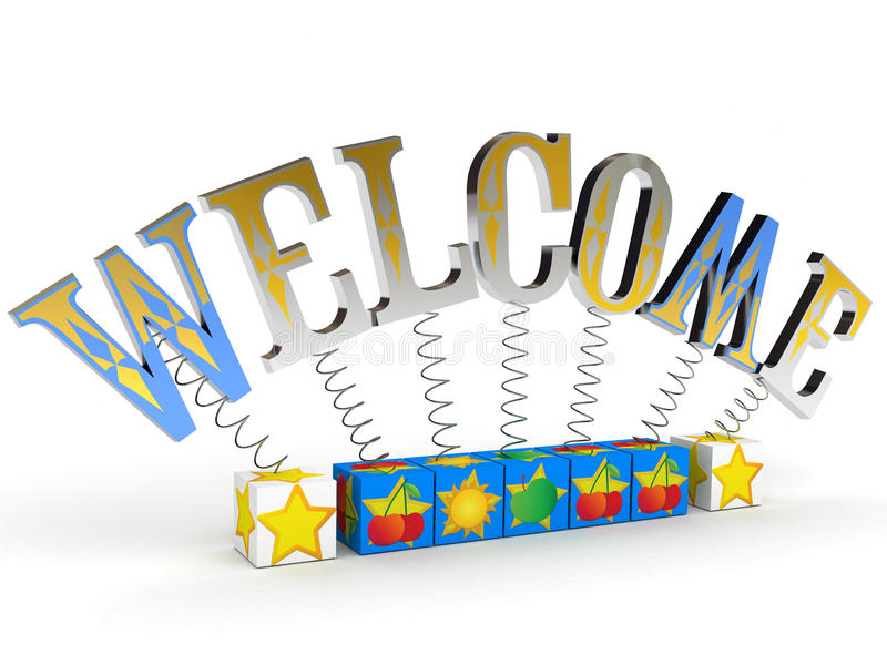 Welcome. Word welcome attached to boxes with advantage symbols royalty free illustration