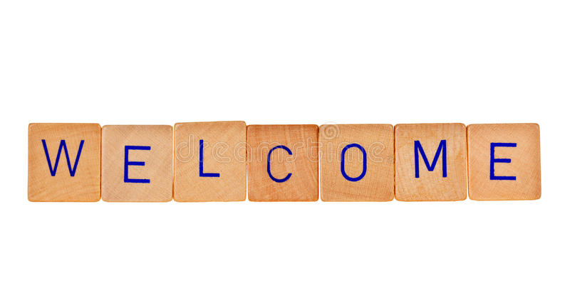 Welcome. Sign in wooden bricks