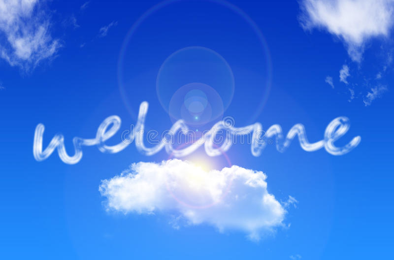 Welcome. Of clouds on the sky vector illustration