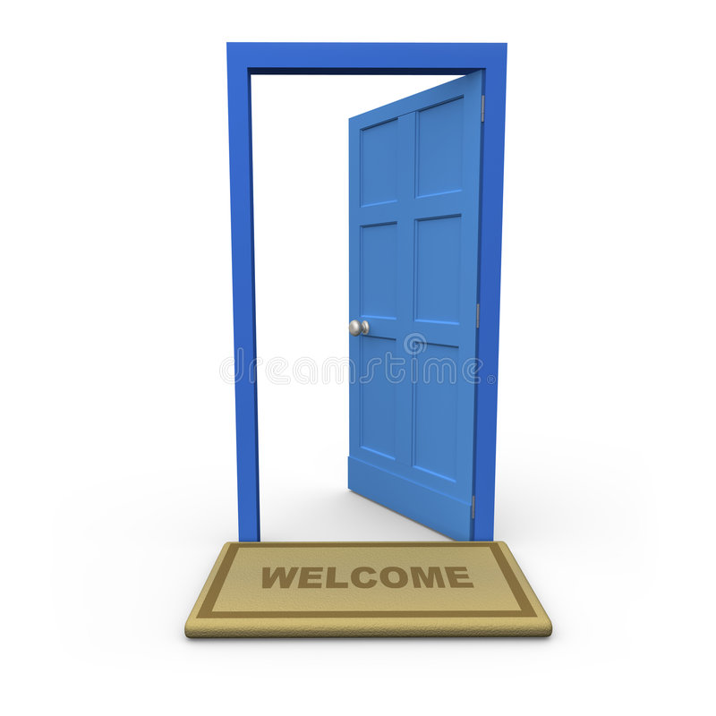 Welcome. Isolated open door with a welcome mat