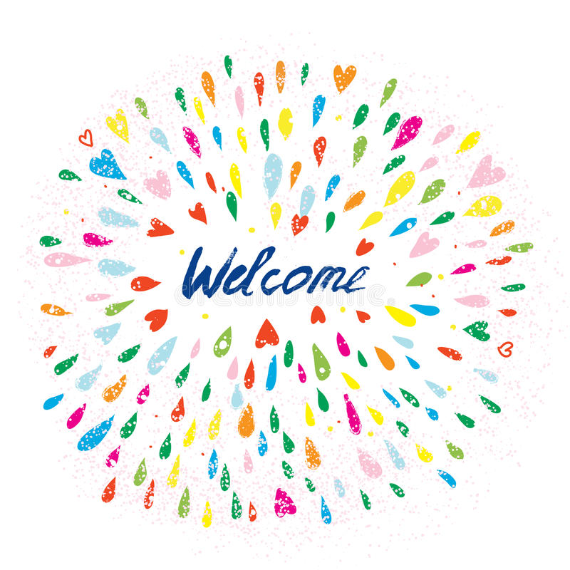 Welcome artistic banner with splashes and hearts royalty free illustration