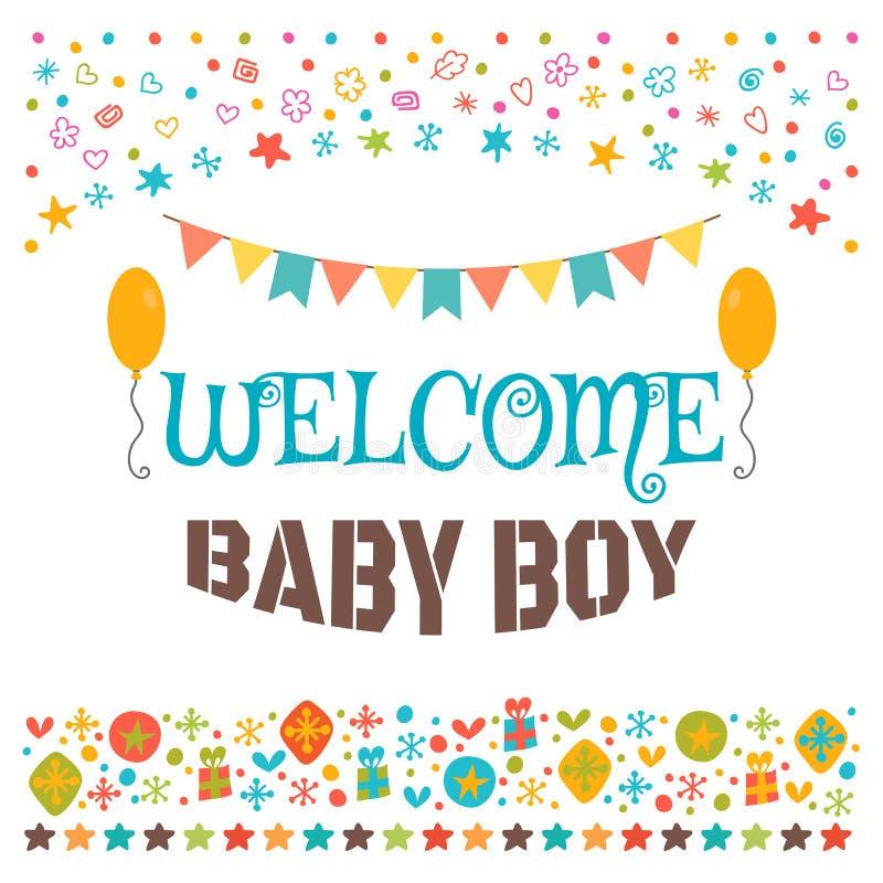 Welcome baby boy announcement card baby shower greeting card download welcome baby boy announcement card baby shower greeting card stock vector m4hsunfo
