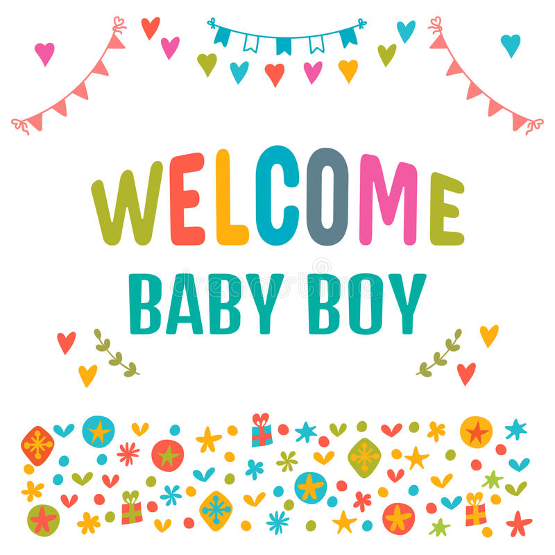 Welcome baby boy. Baby boy shower card. Baby shower greeting car vector illustration