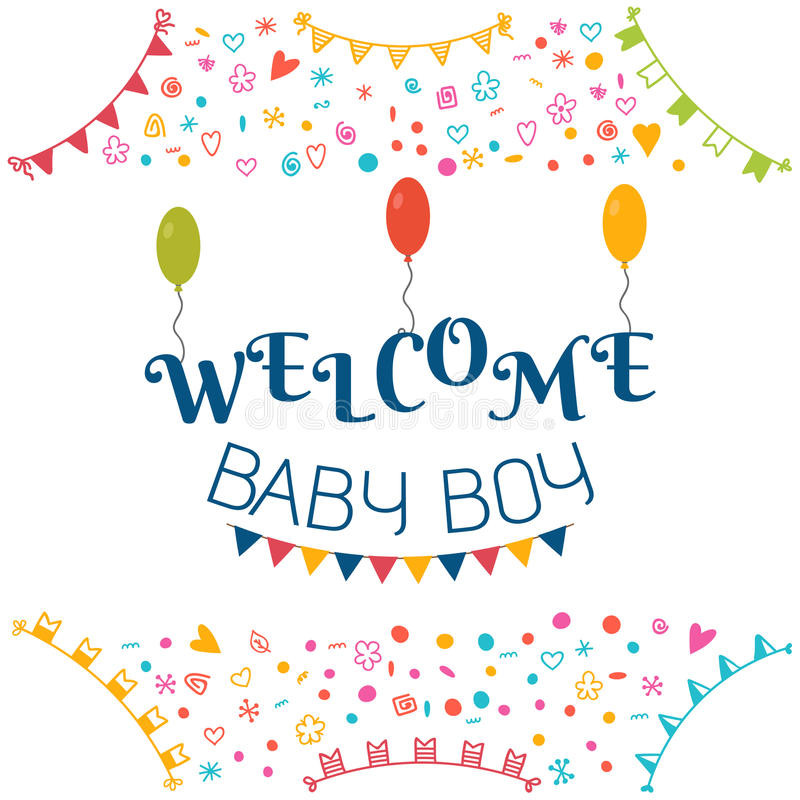 Welcome baby boy baby shower greeting card cute baby boy showe download welcome baby boy baby shower greeting card cute baby boy showe stock vector negle Gallery