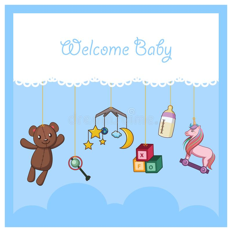 Welcome baby card with baby accessories royalty free illustration