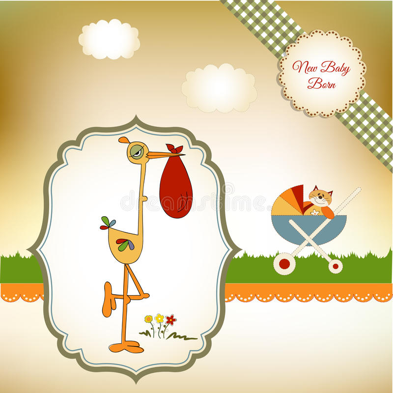 Welcome baby card with stork. Special ad fun welcome baby card with stork stock illustration