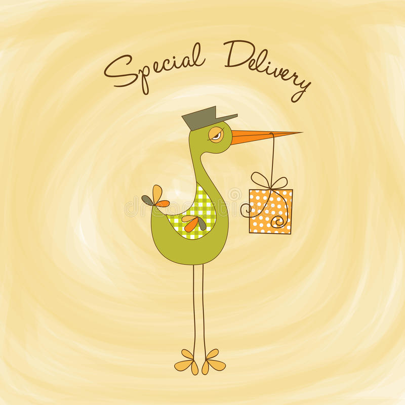 Welcome baby card with stork. In format stock illustration
