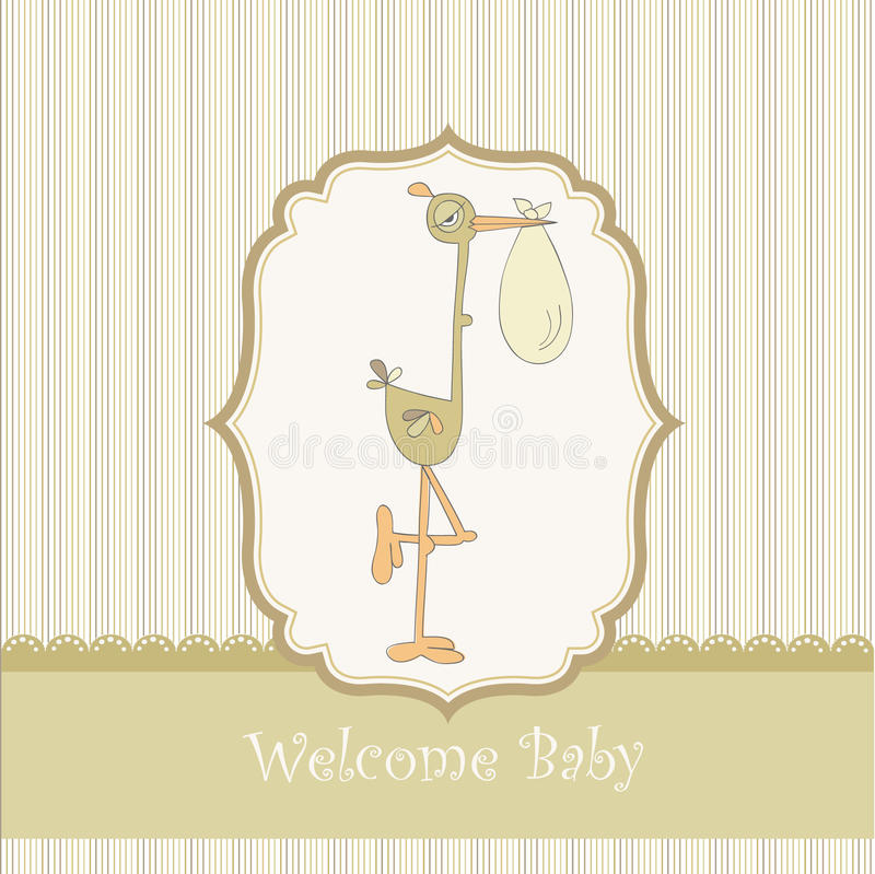 Free Welcome Baby Card With Stork Stock Photos - 18960723