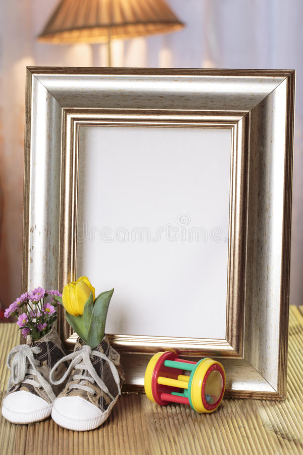 Welcome baby gift frame decorated royalty free stock photo