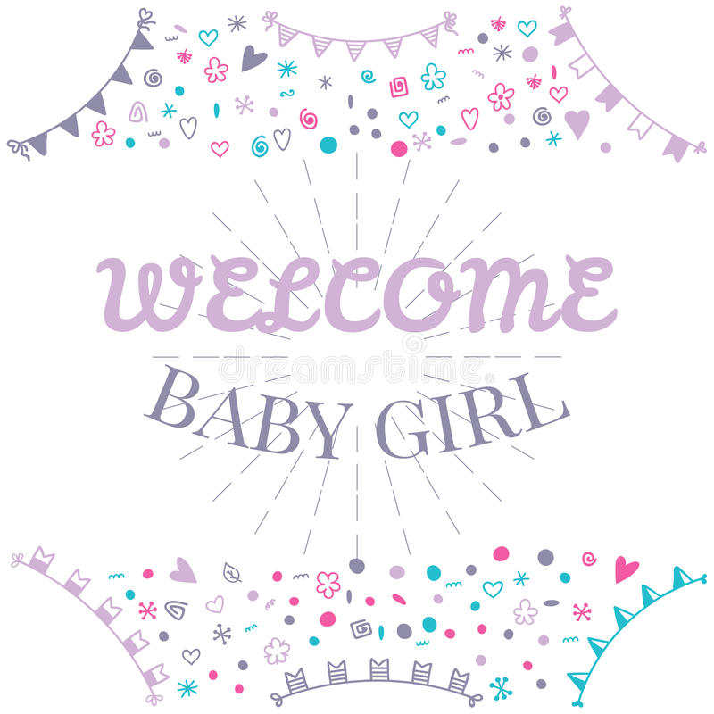 Welcome baby girl baby shower greeting card cute baby girl sho download welcome baby girl baby shower greeting card cute baby girl sho stock vector m4hsunfo