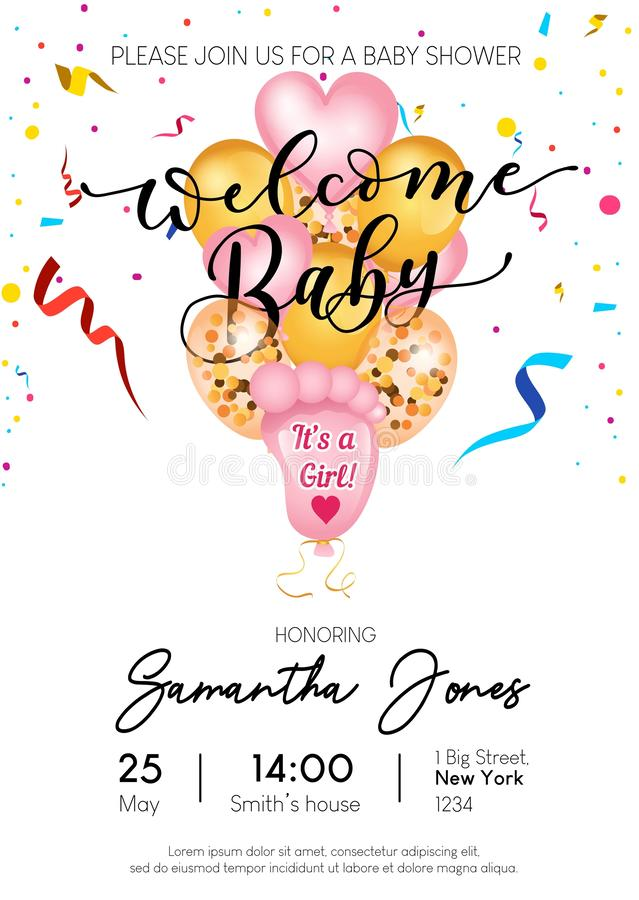 Welcome baby girl invitation design. Cute balloons baby footprints, heart shaped and golden balloons. Vector baby shower. Invitation vector illustration