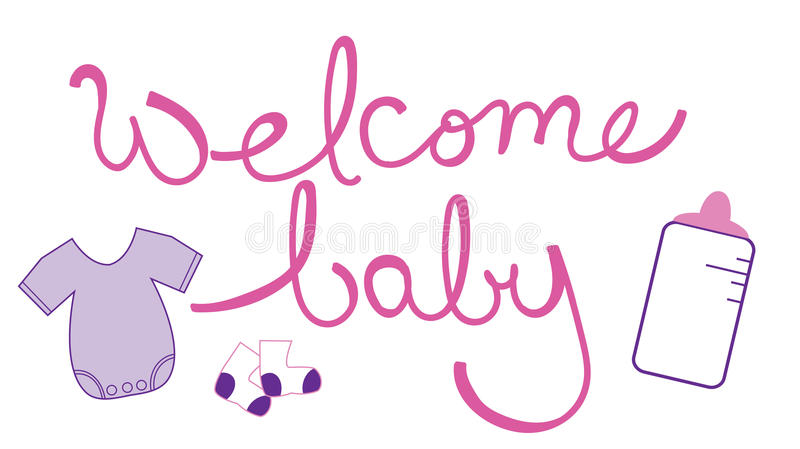 Welcome Baby Girl Vector Illustration Birth