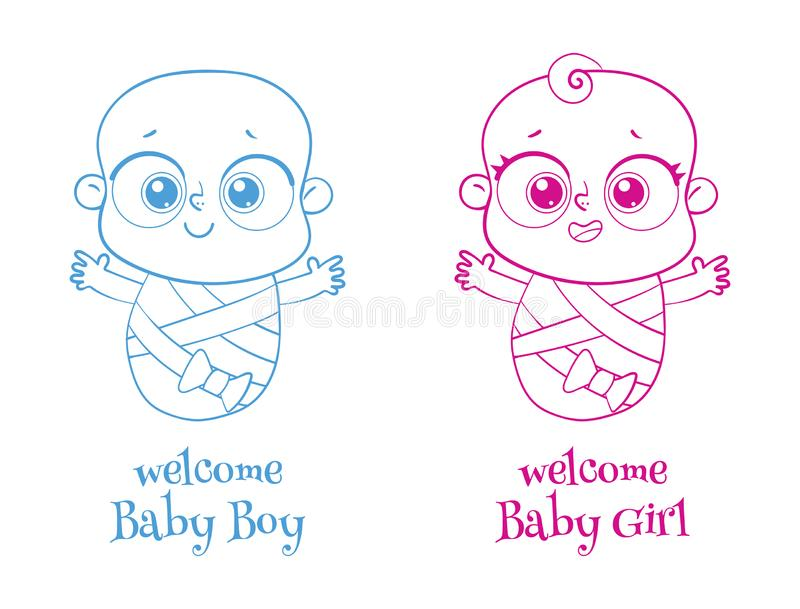 Welcome baby. Invite Greeting card it is a boy or a girl. Logotype. Welcome baby. Invite Greeting card it is a boy or a girl. Happy birthday, holiday, baby vector illustration