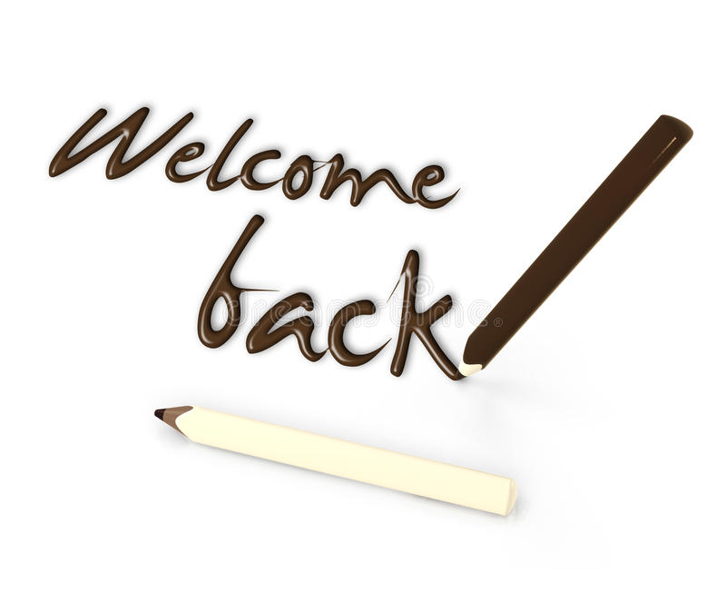 Welcome back by chocolate pencils on white background royalty free stock photography