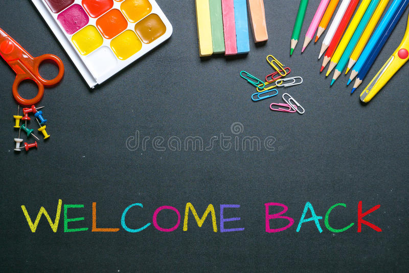 Welcome back colorful chalk text. On blackboard stock photos