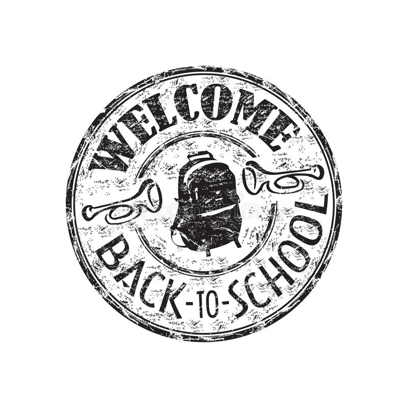 Welcome back to school. Black grunge rubber stamp with schoolbag and the text welcome back to school written inside the stamp stock illustration