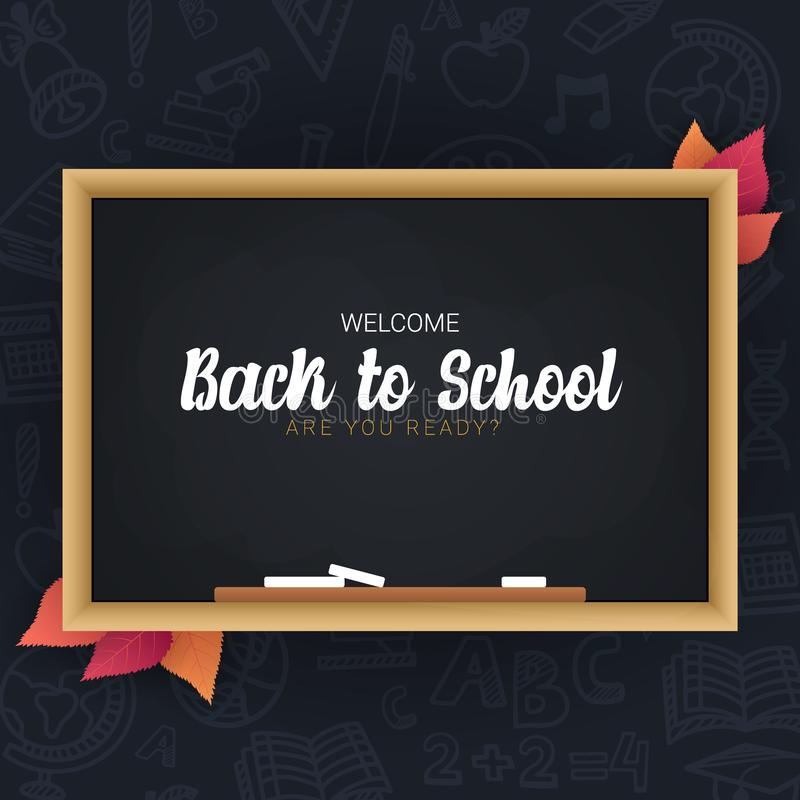 Welcome Back to School banner with chalkboard and dark hand draw doodle background. stock illustration
