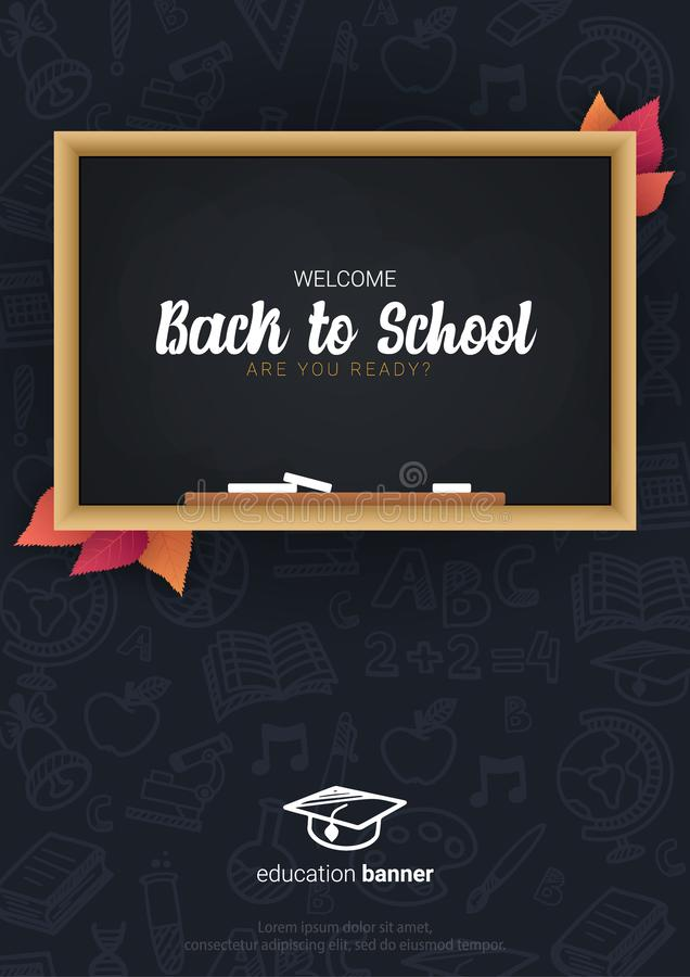 Welcome Back to School banner with chalkboard and dark hand draw doodle background. vector illustration