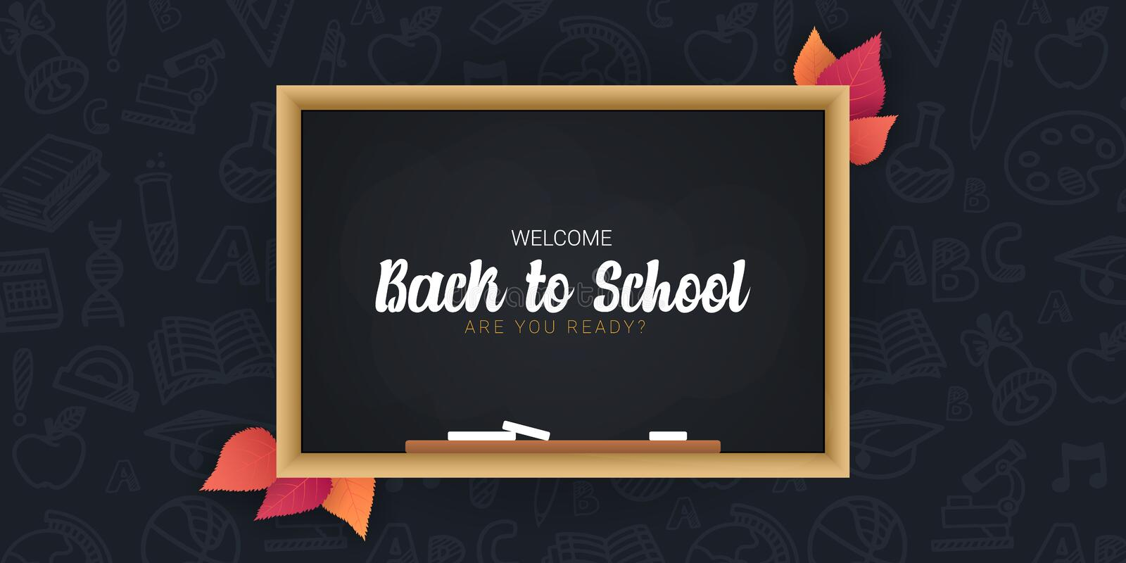 Welcome Back to School banner with chalkboard and dark hand draw doodle background. royalty free illustration