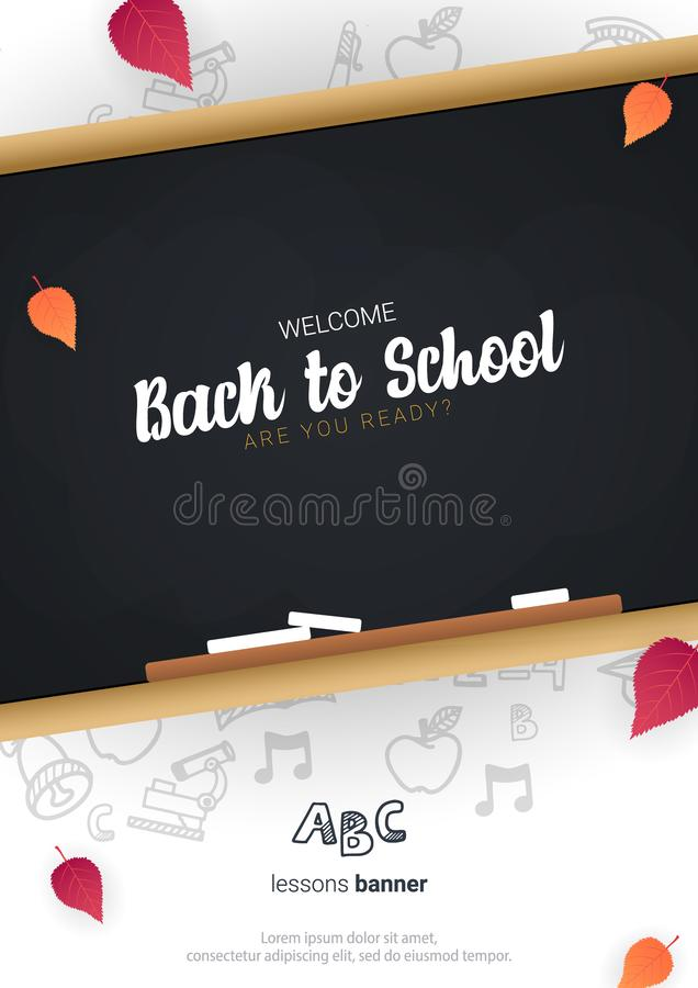 Welcome Back to School banner with chalkboard and white hand draw doodle background. royalty free illustration