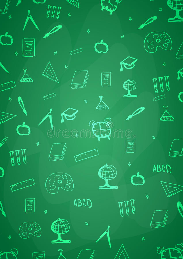 Welcome Back to School banner with different school objects. stock illustration