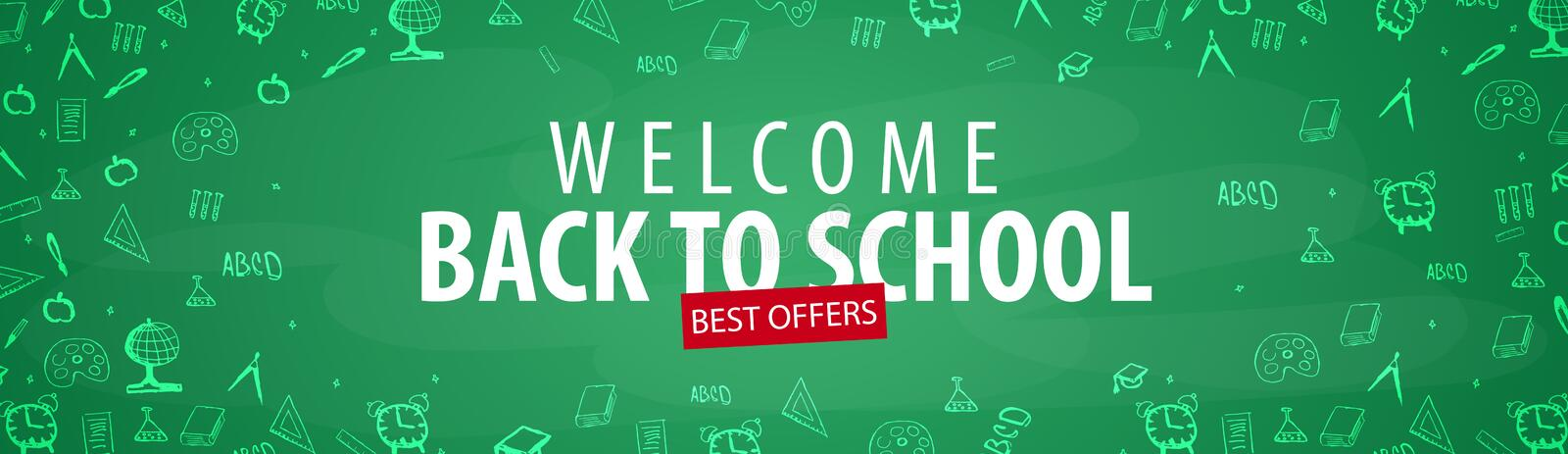 Welcome Back to School banner with different school objects. School sale banners and best offers. royalty free illustration