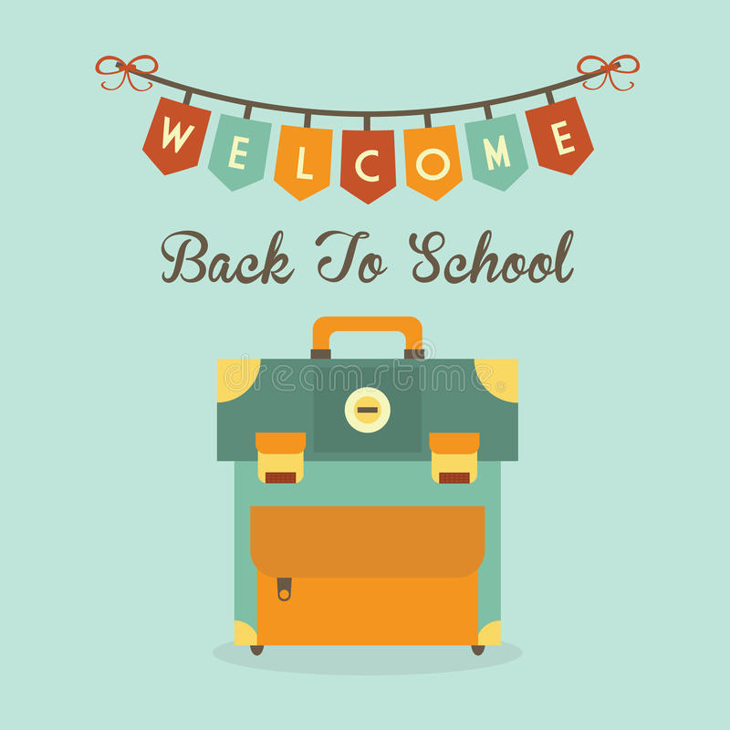 Welcome Back To School banner message with retro school bag icon stock illustration