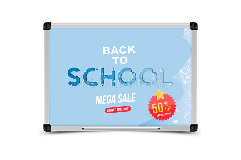 Welcome Back to school. Banner with set of doodle icons and sale 50 and sticker. Concept for education. Vector illustration EPS10 royalty free illustration