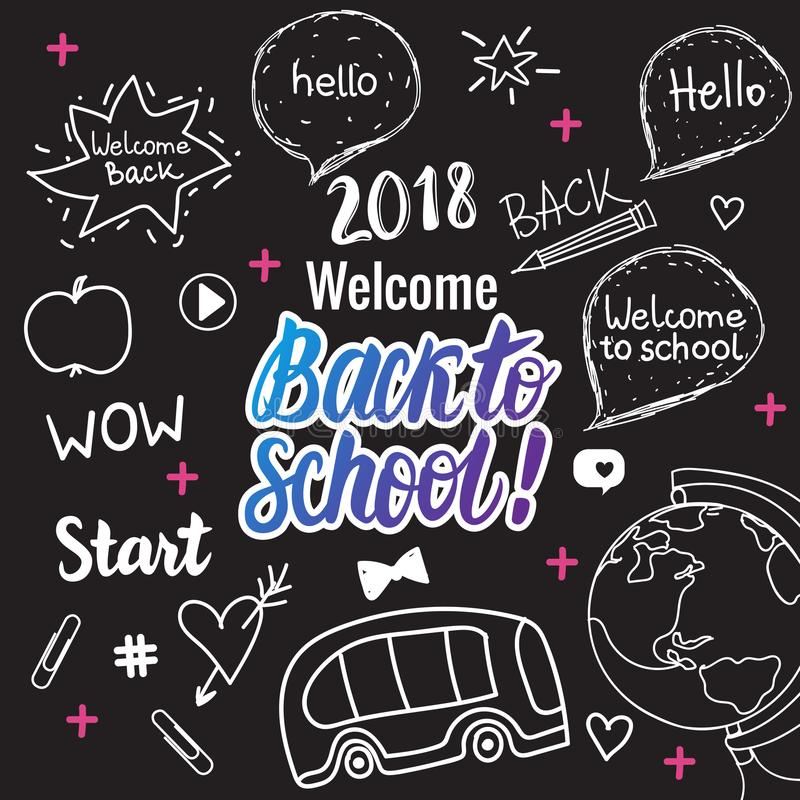 Welcome Back to school 2018 banner. Vector hand draw set elements on black chalk board. stock illustration