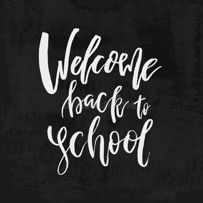 Welcome Back to School chalk lettering on blackboard. Vintage Ca vector illustration