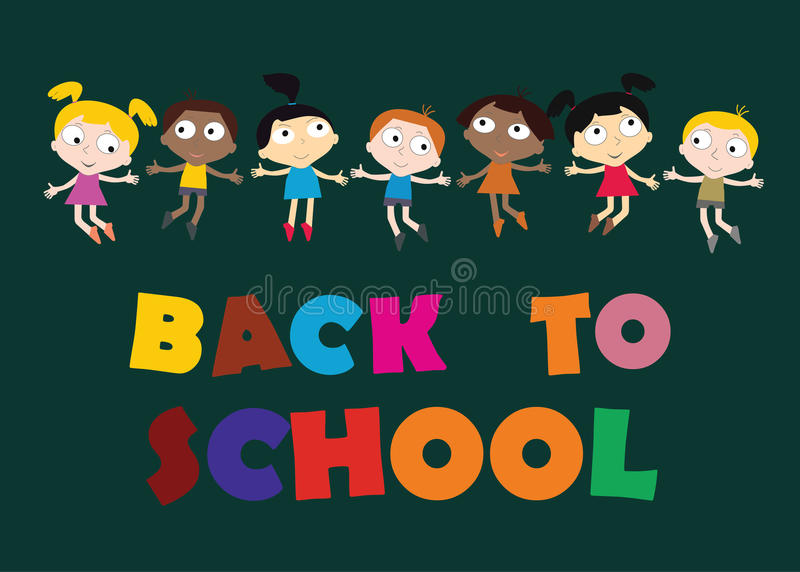 Welcome Back to school concept with childrens, chalkboard and Co vector illustration