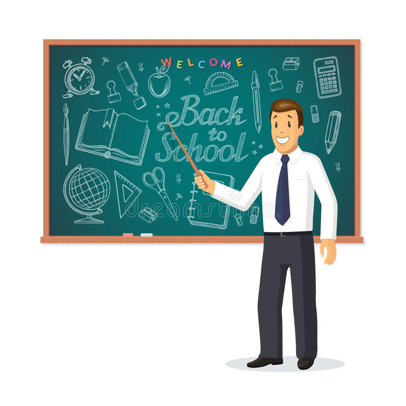 Welcome back to school concept. Smiling teacher with pointer stick standing in front of school chalkboard vector illustration