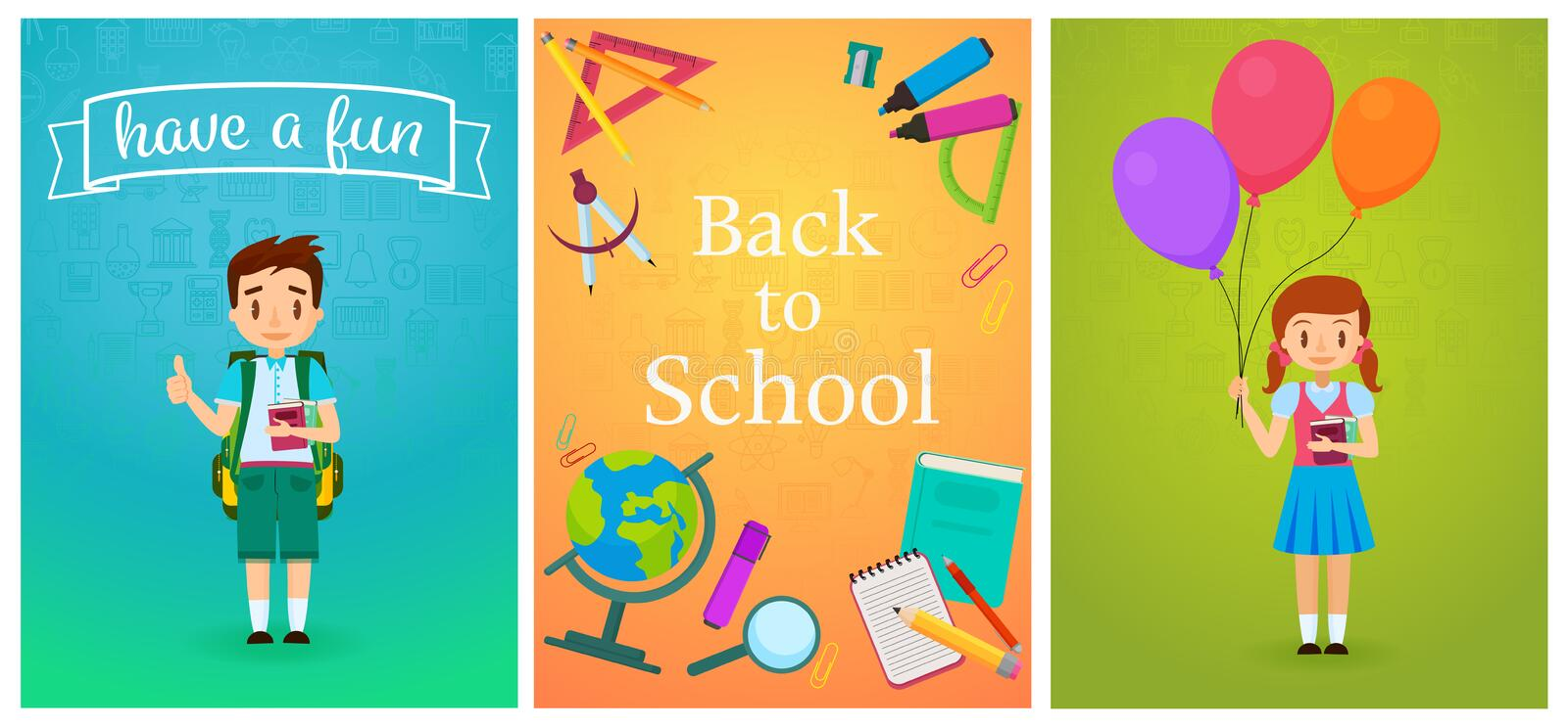 Welcome back to school. Cute school pupils kids templates and baners. Pupil Boy with backpack and girl with ballons royalty free illustration