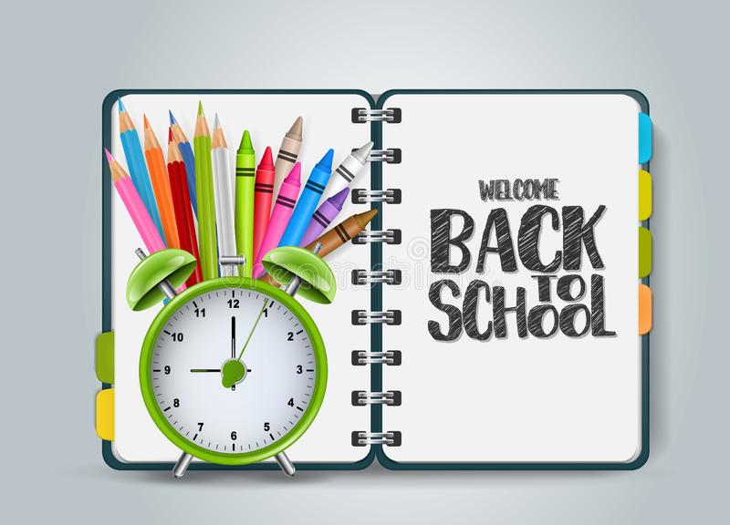Welcome back to school design with an open ring notebook with dividers and realistic education supplies - alarm clock stock illustration