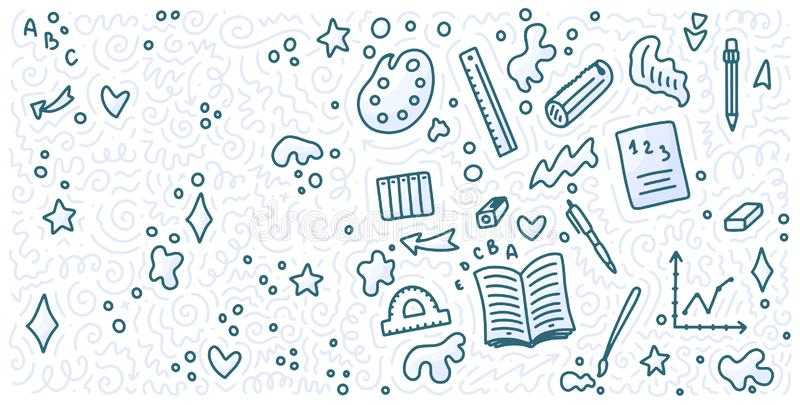 Welcome back to school doodle background. Template for sale banner. Hand drawn elements. Education concept. Typography emblem vector illustration