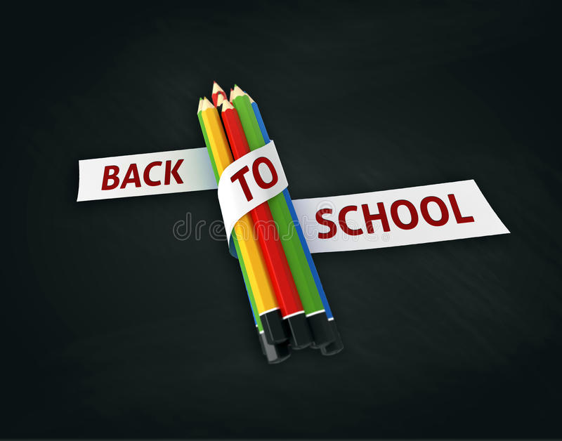 Download Welcome Back To School Embroidered On Ribbon On Colorful Crayons  Stock Illustration   Illustration Of