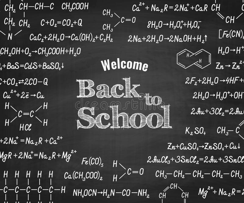 Welcome back to school with formula on blackboard. stock illustration