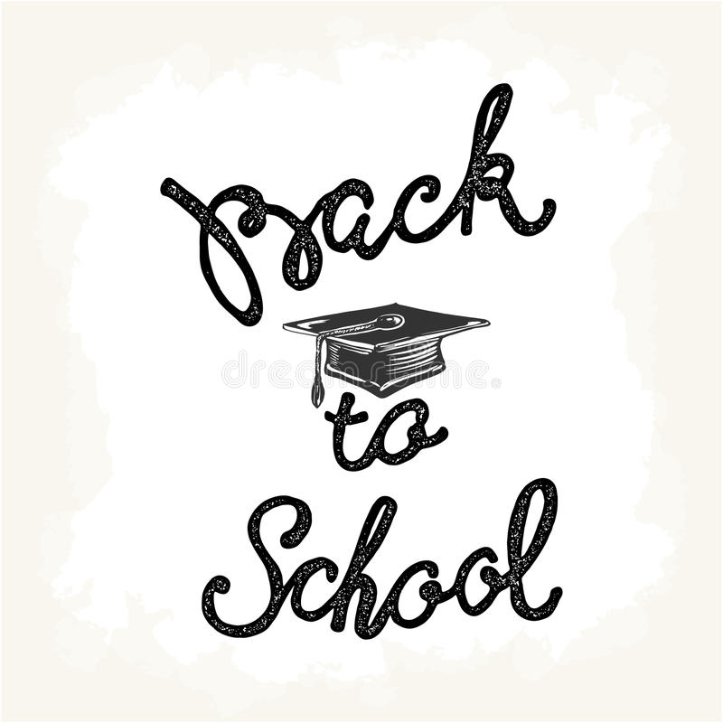 Welcome back to school hand lettering sketch background. royalty free illustration