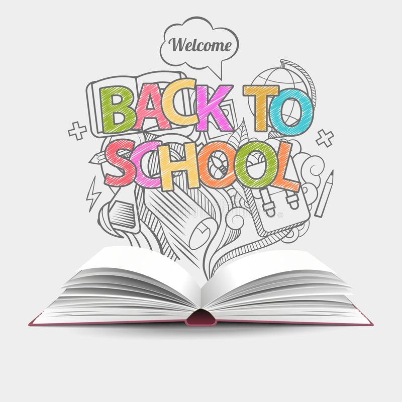 Welcome back to school idea gray, monochrome doodles icons and open book. Vector illustration. Can be used for workflow layout, st stock illustration
